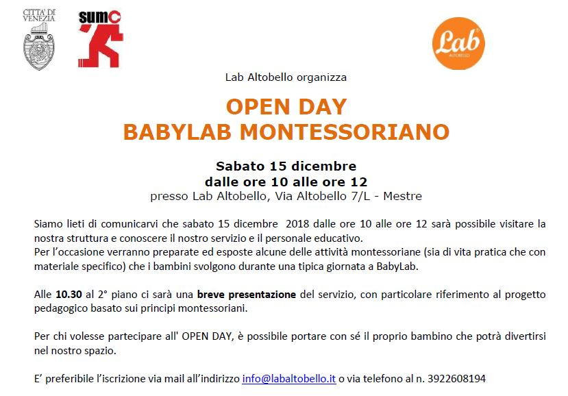 OPEN DAY BABYLAB MONTESSORIANO