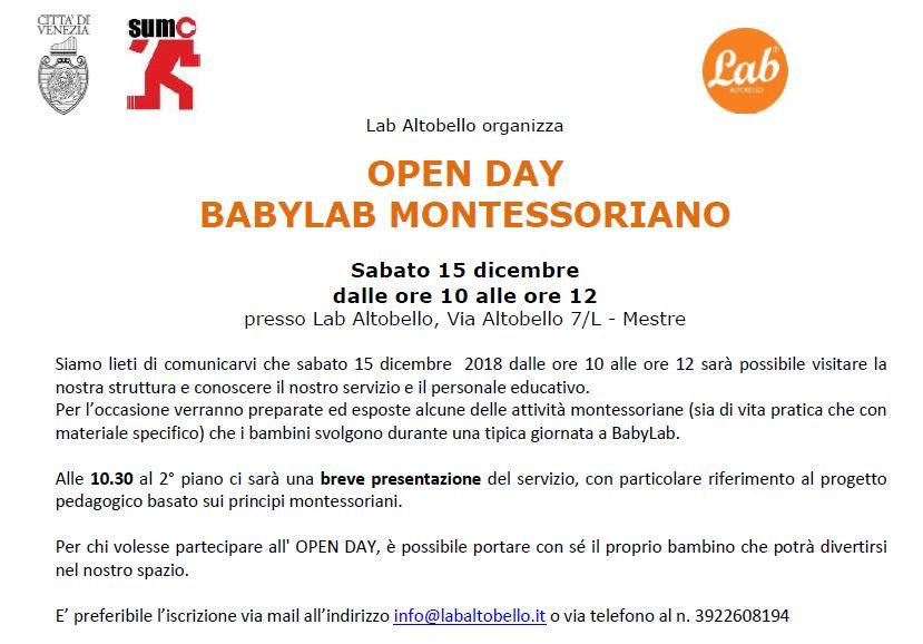 OPEN DAY BABYLAB MONTESSORIANO